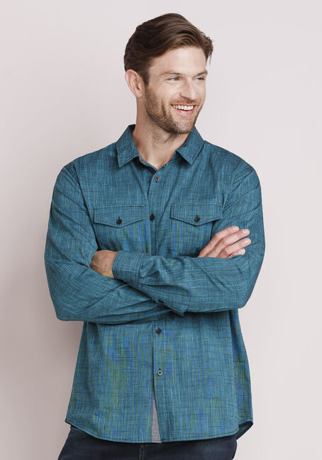 Men's Textured Shirt, BLUEGRASS, hi-res
