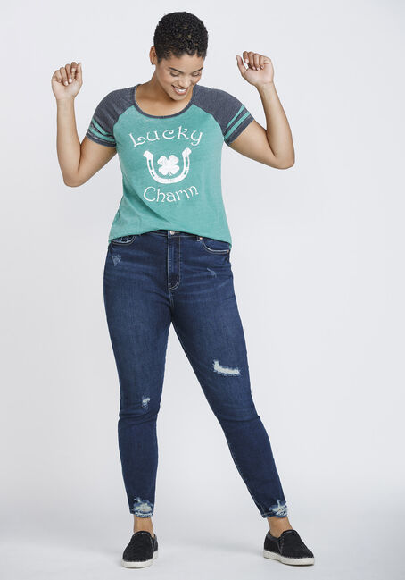 Women's Lucky Charm Football Tee, GREEN, hi-res