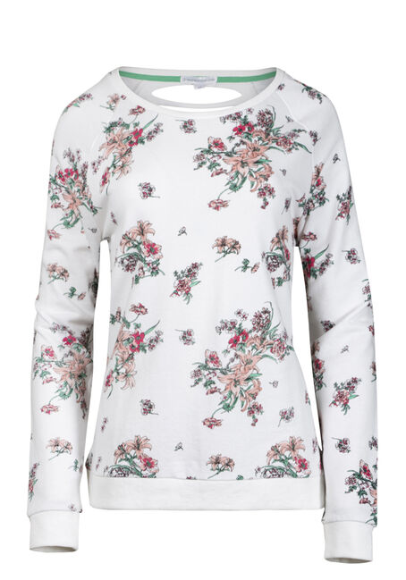 Women's Floral Shredded Back Fleece