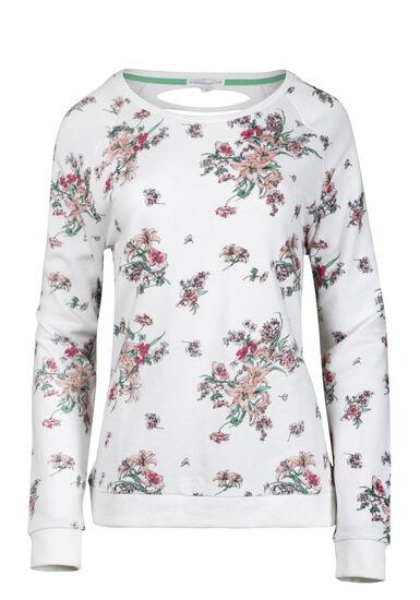 Women's Floral Shredded Back Fleece, WHITE, hi-res
