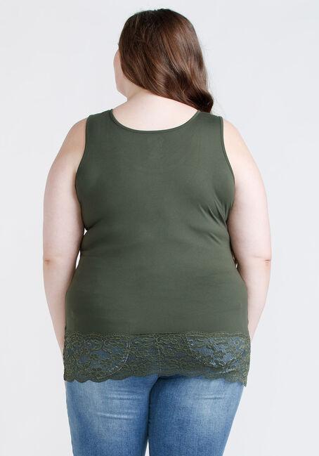 Women's Lace Trim Tunic Tank, OLIVE NIGHT, hi-res