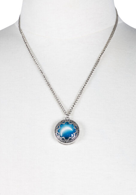 Ladies' Encased Moon Necklace, RHODIUM, hi-res