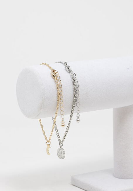 Chain and Charm Anklet Set, MULTI, hi-res
