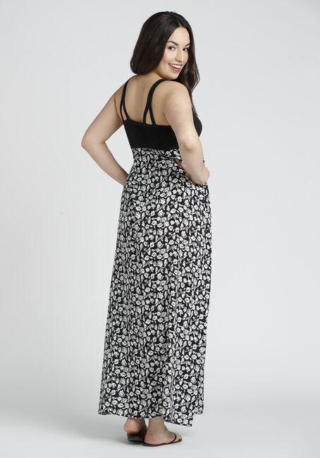 Ladies' Floral Maxi Dress, BLK/WHT, hi-res