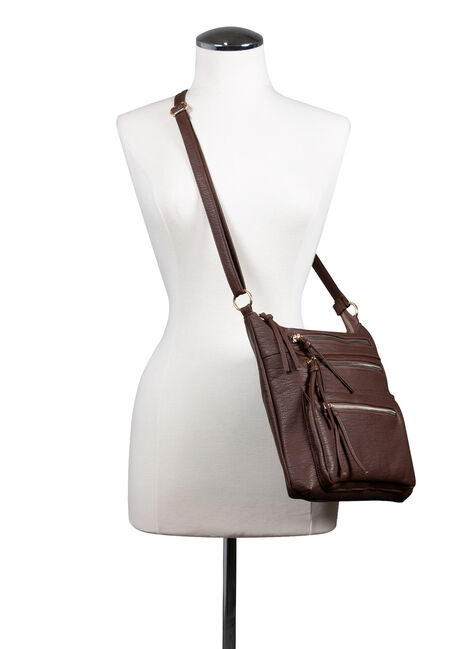 Women's Triple Zipper Cross Body Bag, BROWN, hi-res