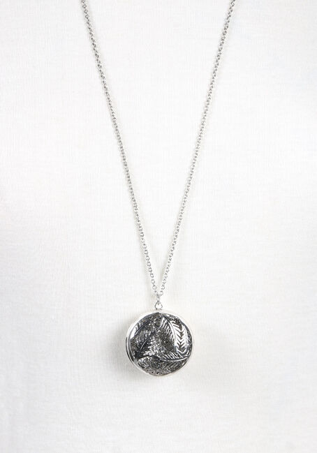 Ladies' Round Feather Necklace, RHODIUM, hi-res