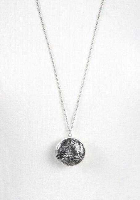 Women's Round Feather Necklace, RHODIUM, hi-res