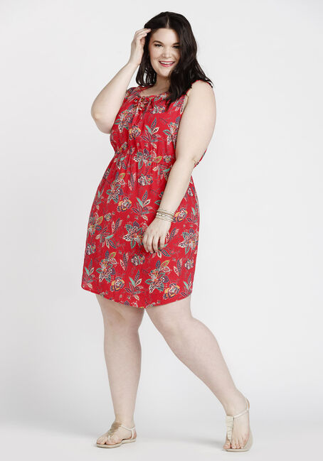 Women's Paisley Lace Up Dress, RED, hi-res
