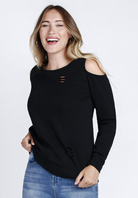 Women's Distressed Cold Shoulder Crew Neck Fleece, BLACK, hi-res