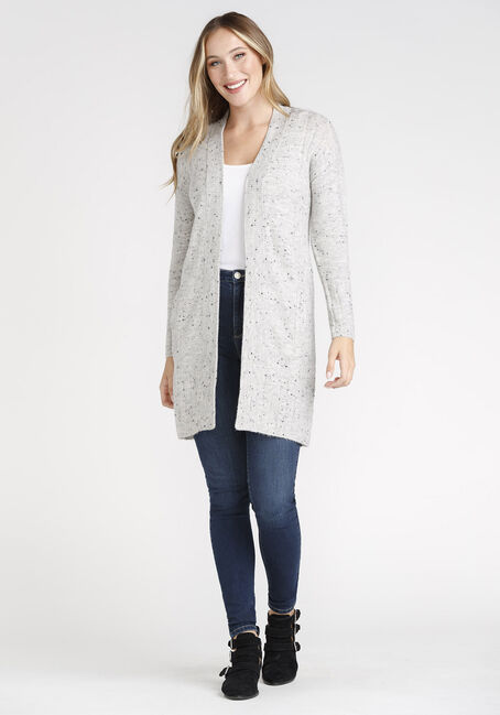 Women's Mossy Ribbed Cardigan, GREY, hi-res