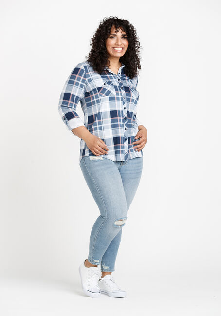 Women's Knit Plaid Shirt, LIGHT BLUE, hi-res