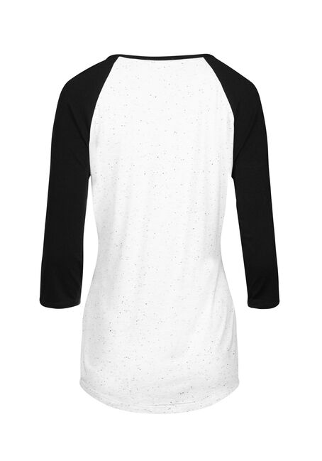 Women's Baby Shark Baseball Tee, WHITE, hi-res