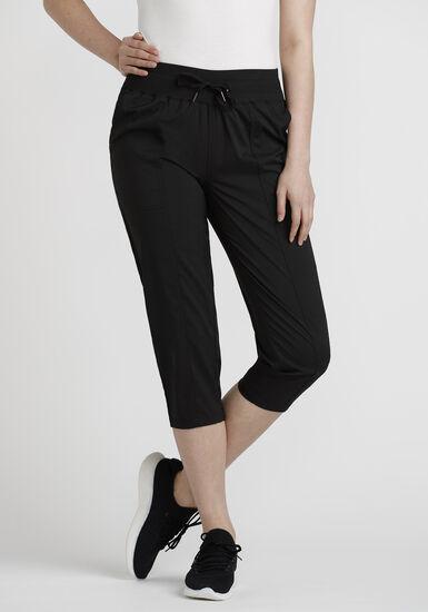 Women's Tonal Stripe Hybrid Capri, BLACK, hi-res