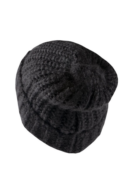 Women's Chunky Knit Hat, BLACK, hi-res