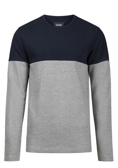 Men's Colour Block Rib Knit Sweater, MIDNIGHT NAVY, hi-res