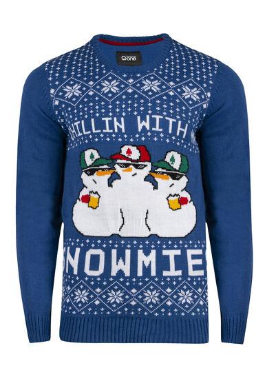 Men's Snowmies Musical Sweater, ROYAL BLUE, hi-res