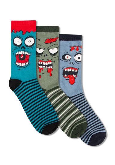 Men's 3 Pair Monster Socks, TEAL, hi-res