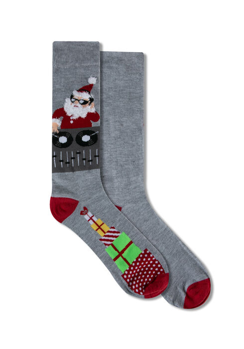 Men's Festive DJ Santa Socks, GREY, hi-res