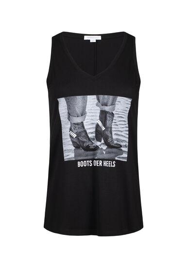 Women's Boots Over Heels V Neck Tank, BLACK, hi-res