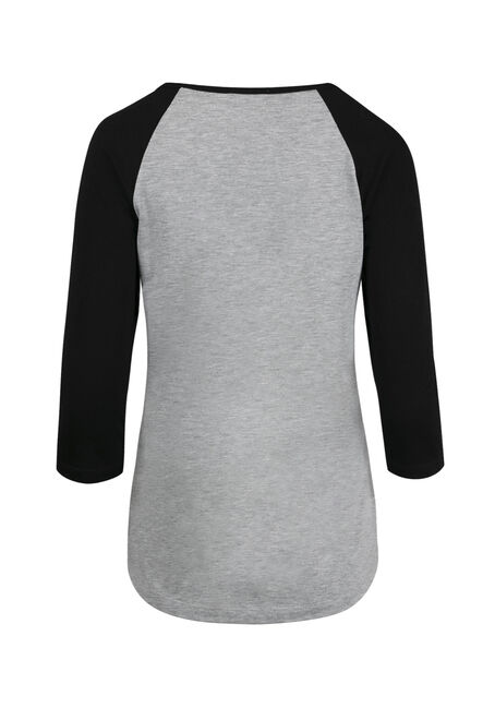 Women's Go Ask Dad Baseball Tee, GREY/BLK, hi-res