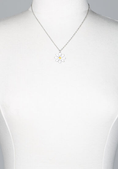 Women's daisy pendant necklace, SILVER, hi-res