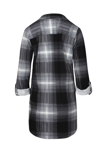 Women's Relaxed Fit Knit Plaid Tunic Shirt, BLACK, hi-res