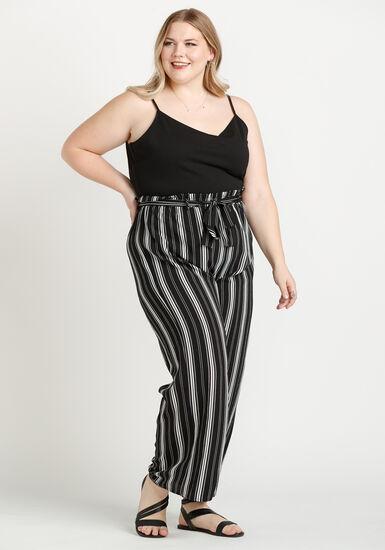 Women's Striped Paperbag Waist Jumpsuit, BLK/WHT, hi-res