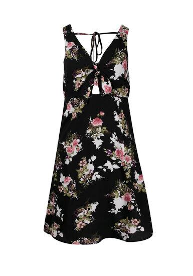 Women's Floral Tie Front Dress, BLACK, hi-res