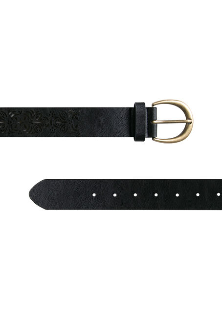 Ladies' Floral Perforated Belt, BLACK, hi-res