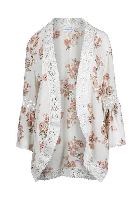 Women's Crochet Trim Kimono