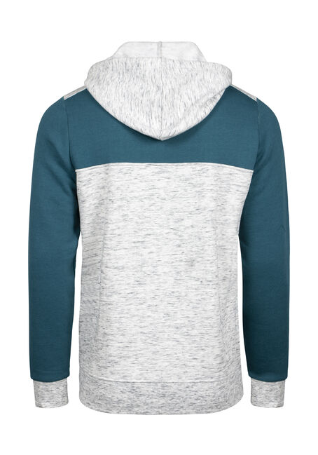Men's Colour Block Zip Front Hoodie, STEEL BLUE, hi-res