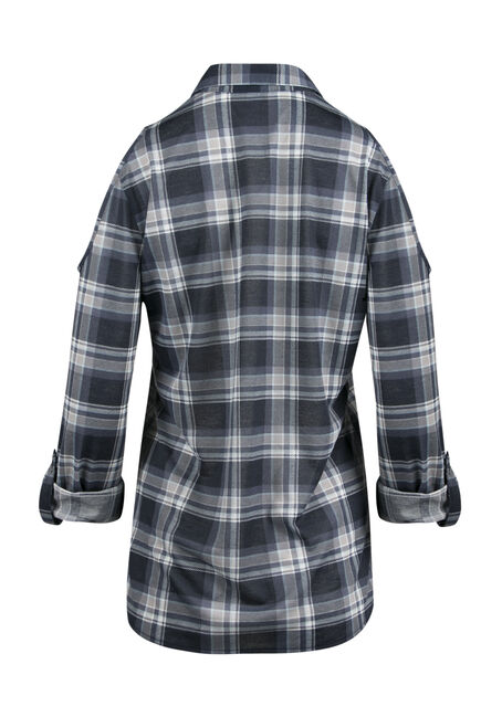 Ladies' Cold Shoulder Knit Plaid Shirt, ECLIPSE, hi-res