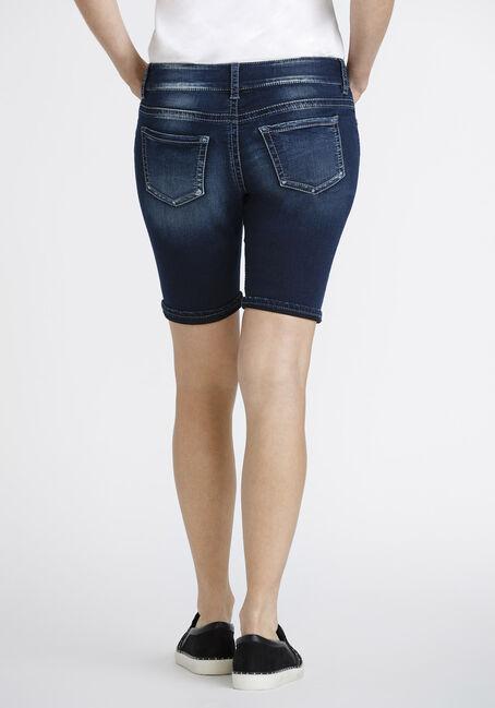 Women's Cuffed Slim Bermuda Short, DARK WASH, hi-res
