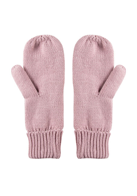 Women's Knit Mittens, DUSTY PINK, hi-res