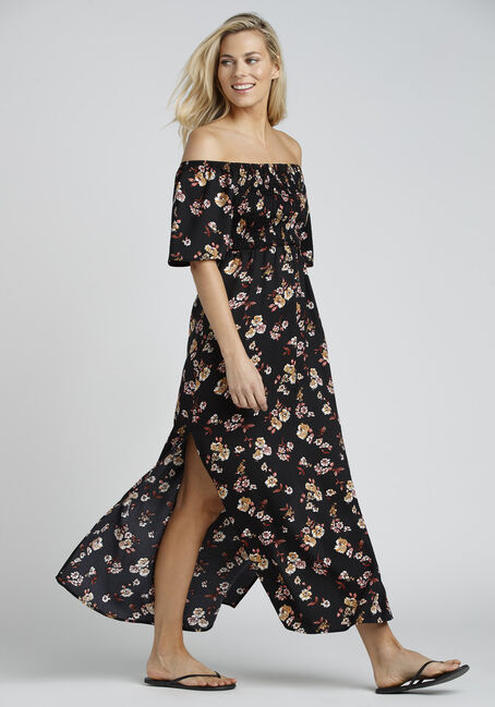 Ladies' Smocked Maxi Dress, BLACK PRINT, hi-res