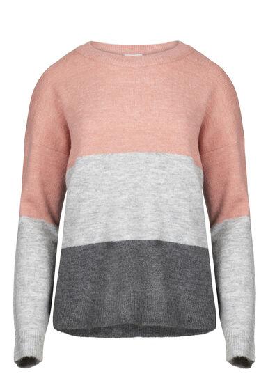 Women's Colour Block Sweater, DUSTY PINK, hi-res