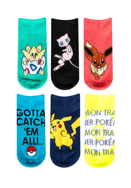Ladies' 5 Pair Pokemon Socks, MULTI, hi-res