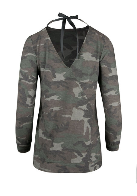 Ladies' Camo Print Top, OLIVE, hi-res
