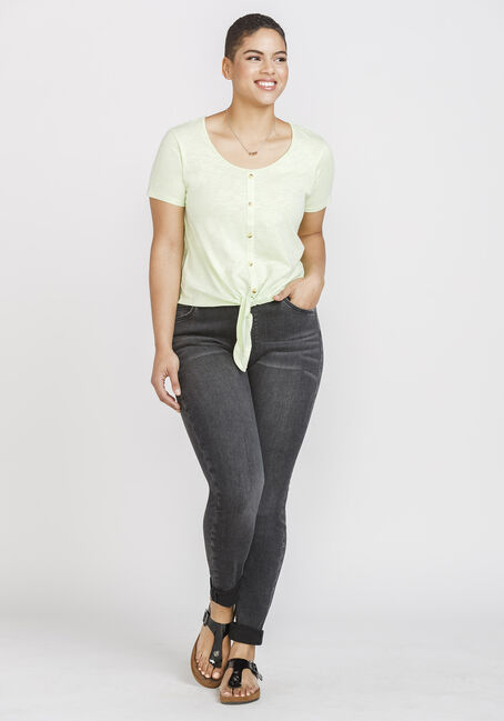 Women's Tie Front Tee, LIME, hi-res