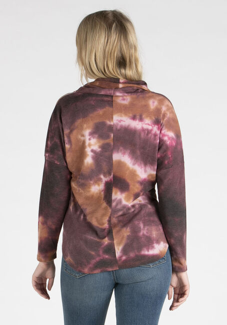 Women's Tie Dye Cowl Neck Top, BURGUNDY, hi-res