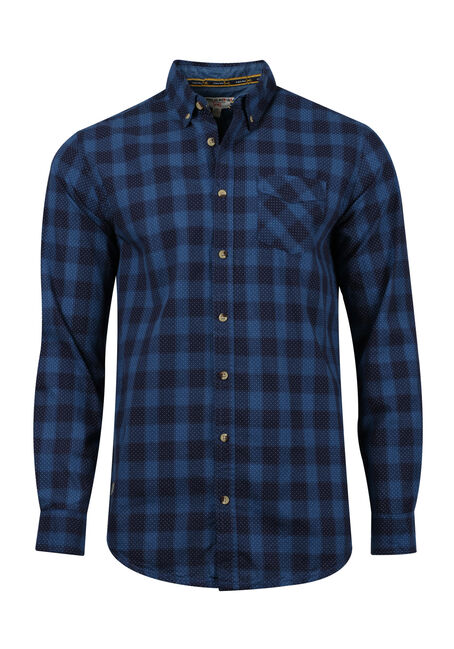 Men's Printed Dot Plaid Shirt