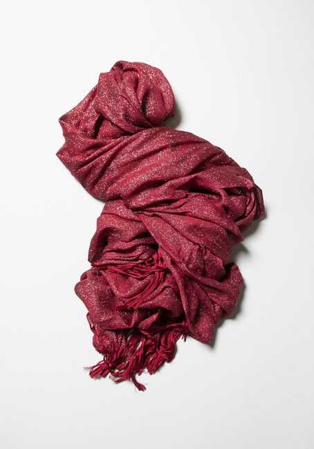 Women's Shimmer Scarf, RED, hi-res