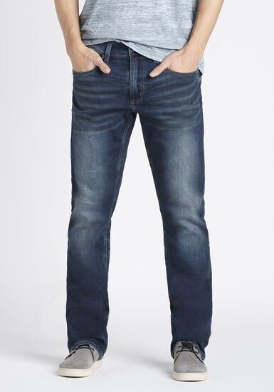 Men's Indigo Wash Straight Jeans, DARK WASH, hi-res
