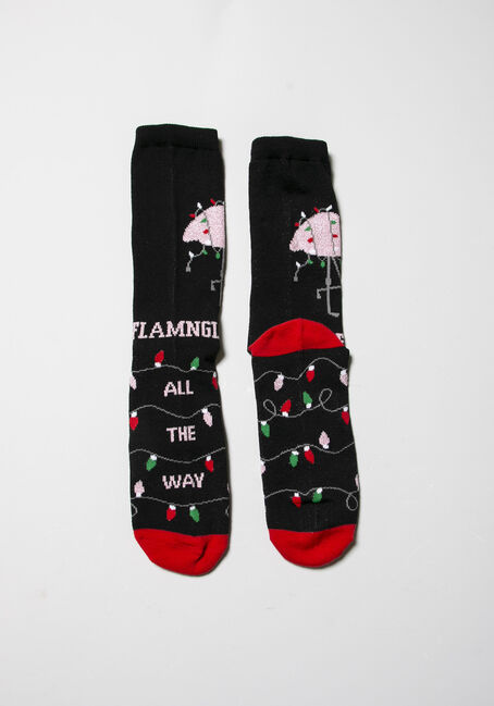 Women's Holiday Crew Socks, BLACK, hi-res
