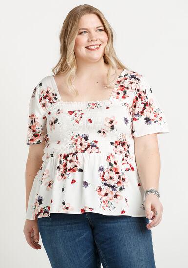 Women's Smocked Babydoll Top, IVORY, hi-res