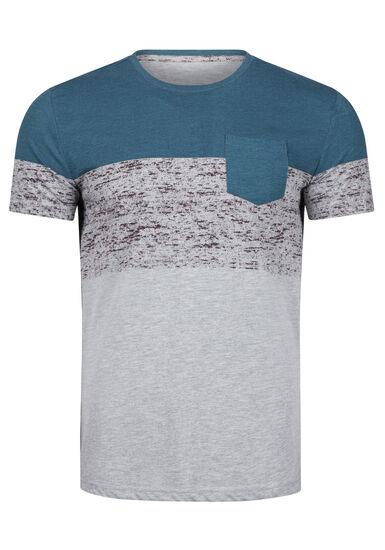 Men's Colour Block Pocket Tee, STEEL BLUE, hi-res