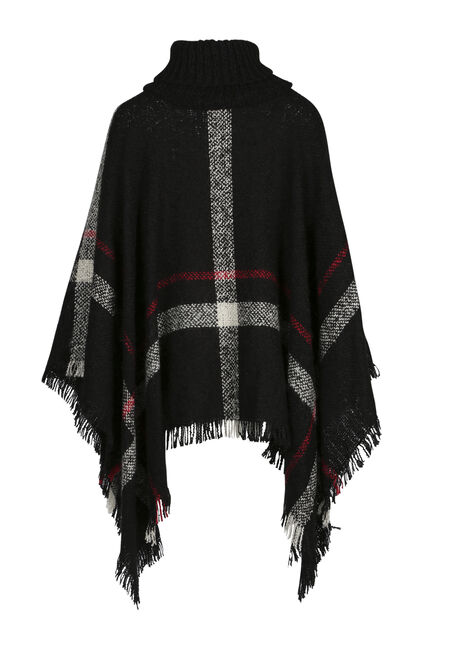 Ladies' Plaid Cowl Neck Poncho, BLACK, hi-res