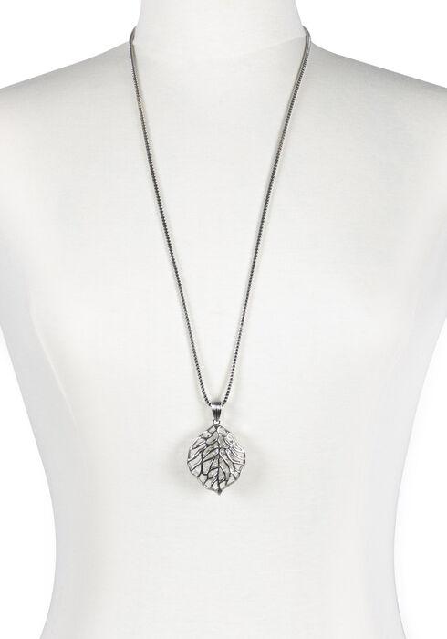 Women's Rhinestone Leaf Necklace, RHODIUM, hi-res