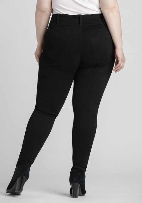 Women's Plus Size High Rise Skinny Coloured Pant, BLACK, hi-res