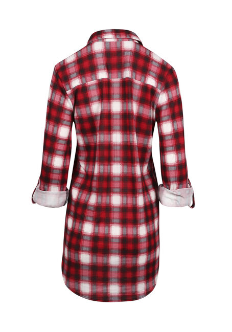 Ladies' Knit Plaid Tunic Shirt, TRUE RED, hi-res